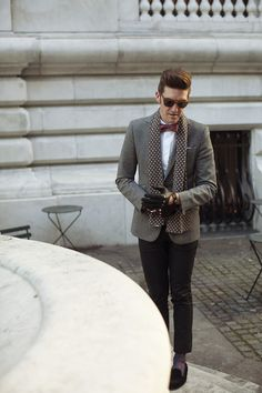 J. Lindeberg jeans, blazer and scarf. Rapha dress shirt, Stubbs and Wooten slippers and Persol sunglasses. Dents driving gloves