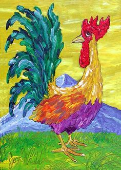 Rooster Rooster Painting, Rooster Art, Rooster Decor, Rock Painting, Chicken Signs, Chicken Art, Chicken Pictures, Chicken Painting, Mini Drawings