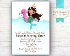 Sirène personnalisée Party Invitation sirène par UrbanWillow