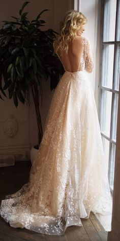 Muse long sleeve wedding dress with open back dress sleeve de novia de novia boho de novia cortos Ruched Wedding Dress, Top Wedding Dresses, Wedding Dress Trends, Wedding Dress Sleeves, Bridal Dresses, Wedding Ideas, Gown Wedding, Trendy Wedding, Wedding Planning