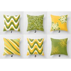 Mix and Match Throw Pillows Yellow Green Pillow Covers