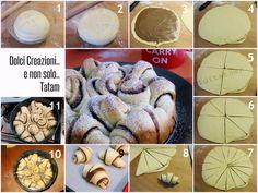 torta pan brioche passo passo, come fare danubio dolce Nutella Recipes, Sweets Recipes, No Bake Desserts, Cooking Recipes, Croissants, Brioche Nutella, Braided Bread, Sweet Buns, Bread And Pastries