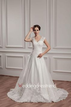 Modest V-Neck Beaded and Sequined Lace Wedding Dress