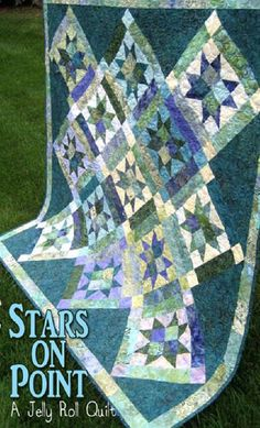 Stars on Point Quilt Pattern WHC-1137 by Whistlepig Creek Productions - Sue Marsh. Jelly roll friendly quilt pattern. Pieced lap and throw.