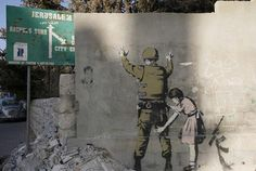 Street art in Palestine, Banksy Graffiti, Street Art Banksy, Banksy Art, Bansky, Banksy Palestine, Stencilling Techniques, Ephemeral Art, Street Art Love, But Is It Art