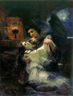 Tamara and Demon 1889  Konstantin Makovsky - Lermontov's epic poem opens with The Demon, a fallen angel, flying among the clouds of the Caucasus sky. Soon the condemned Demon sees the beautiful princess Tamara, and, in an attempt to avoid his lonely fate, decides to seduce her. Upon finding out that she is engaged to be married, The Demon becomes torn between his love for Tamara and his own destructive nature. In a desperate but deliberate following of his heart, he wishes death upon the…