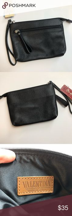 """In Pell Pelletterie Valentina Wristlet Clutch Valentina Genuine Leather Wristlet Small clutch/coin purse Made in Italy  NWT Front zip pocket  L 7 3/4"""" H 6"""" Valentina Bags Clutches & Wristlets"""