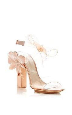 Pink Transparent Flower Sandals by DELPOZO Now Available on Moda Operandi