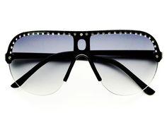 Rhinestone Fashion Shield Aviator Sunglasses A491
