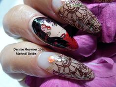 Nail Stamping ...Mehndi Bride ( Henna ) Find me on Youtube Denisejohn65 ...Facebook - Bold and Beautiful Nails