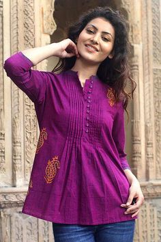 Paisley Cotton Embroidered Blouse Top from India