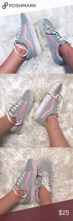 Pink & grey canvas vans Only worn a few times, still in great condition! Vans Shoes Sneakers