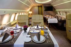 Go above and beyond first class by chartering Emirates' jet, known as the Emirates Executive, which has 10 bedrooms with a private bathroom for each one (heated floors and all), a lounge area and a chef that will cater to your every craving.