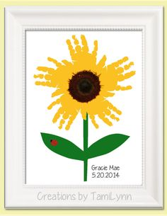 Sunflower Handprint Art - Personalized Baby Nursery, Child's Room, Girls' Room, Mother's Day, Grandparent Gift