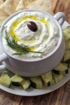Authentic Greek Tzatziki Dip - learned in Athens! #recipe #yogurt