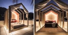 This modern outdoor rooftop bedroom with hidden lighting, has an extendable wood cabana that can be as open or closed as you want, allowing you to sleep under the stars.