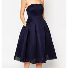 """ASOS Super Full Mesh Bandeau Midi Dress Worn once! EVENING DRESS BY ASOS COLLECTION Mesh fabric Bandeau neckline Zip back closure Regular fit - true to size Hand wash 100% Polyester Our model wears a UK 8/EU 36/US 4 and is 175 cm/5'9"""" tall ABOUT ME Shell: 100% Polyester, Lining: 100% Nylon, Lining 1: 100% Polyester. SIZE & FIT Model wears: UK 8/ EU 36/ US 4 Model's height:  175 cm/5'9"""" LOOK AFTER ME Hand Wash Only ASOS Dresses Midi"""