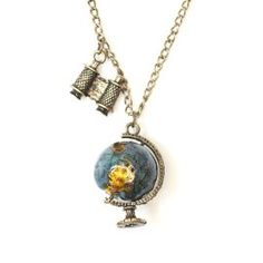 I'd add a compass charm to make it seem more like a travelers necklace.
