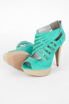 Amazing Color and Design. I'd wear these :)  Mint peep toe platform high heel shoes booties