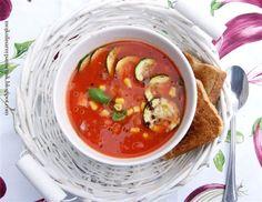 Bernika - mój kulinarny pamiętnik: Chłodnik pomidorowy z warzywną wkładką