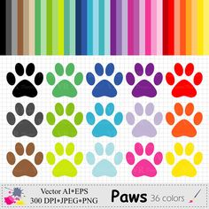 Dog/Cat Paws Clip Art, Rainbow Animal Paws Planner Stickers Clipart, Digital Download Vector Clip Art by VRDigitalDesign on Etsy