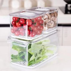 Ten Creative Tips And Tools For Creating More Room In Your Kitchen Produce Storage, Fruit Storage, Airtight Food Storage Containers, Refrigerator Organization, Kitchen Refrigerator, Food Containers, Refrigerator Freezer, Freezer Organization, Kitchen Organization