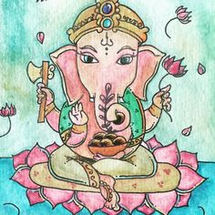 Jai Sri Ganesha!  Painted by Seraphine; sent from Sarah of @shaktijewelry - for all of us today. Just in case  by elenabrower