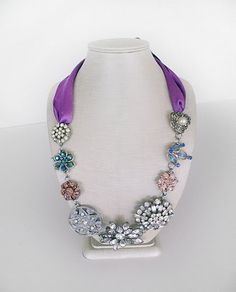 Brooch Necklace made from vintage earrings and brooches