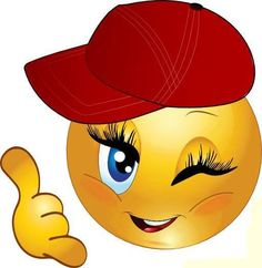 Girl smiley with ball cap Love Smiley, Emoji Love, Cute Emoji, Smiley Emoticon, Emoticon Faces, Smiley Faces, Funny Emoji Faces, Funny Emoticons, Emoji Images