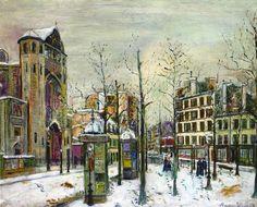 MAURICE UTRILLO. UTRI 2. La Place des Abbesses sous la neige (c. 1917) Huile sur toile (65 x 81)