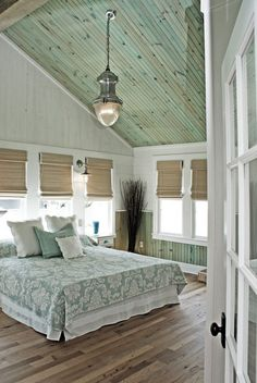 Wood ceiling treatments bedroom beach style with tongue and groove ...