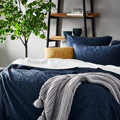 Navy Blue Rooms, Navy Blue Bedding, Navy Quilt, Clean Bedroom, Linen Bedroom, Modern Bedroom, Mustard Bedroom, Room Color Schemes, Mosaics
