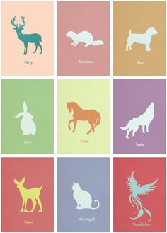 Characters' Patronuses: I've always loved that there were less-popular animals (stag, otter, phoenix) alongside the expected favorites (cat, horse, rabbit).