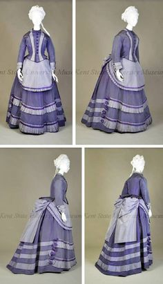 Ensemble, American (attr.), ca. 1868-72. Dark and light purple silk taffeta. Fitted bodice with mauve collar and lapels down front & double fold-back cuffs. Purple skirt, gathered in back, has 3 mauve bands at hem; mauve overskirt with pleated bustle. Mauve apron with pleated ruffle. Kent State Univ.