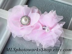 The Pink and Pearl Baby Girl Headband  Little by MLSPhotoWorksShop, $6.50