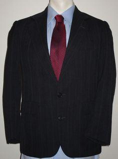 Men's Stanley Blacker Dark Gray Suit 38S - Pants 30x27 - 100% Wool - 2 Button #StanleyBlacker #TwoButton