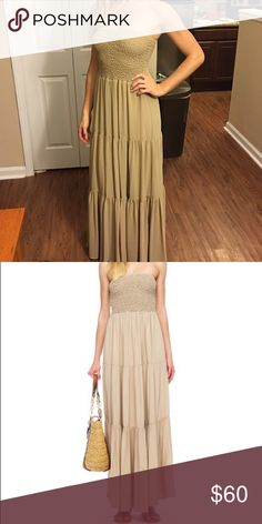 MICHAEL KORS Strapless Tiered Maxi Khaki maxi perfect for all summer long! Dress up with heels or down with gladiators. Effortless chic! MICHAEL Michael Kors Dresses Maxi
