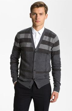 Gray striped cardigan with a crisp white button up
