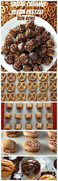 Homemade salted caramel pecan pretzel bon bons