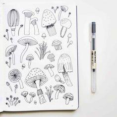Mushroom Bullet Journal Theme Ideas - Home Decor Bullet Journal Spread, Bullet Journal Ideas Pages, Bullet Journal Inspiration, Mushroom Drawing, Mushroom Art, Doodle Drawings, Doodle Art, Foto Doodle, Muji Pens
