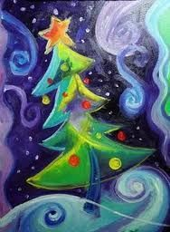 So colorful! Christmas Paintings On Canvas, Christmas Tree Painting, Christmas Canvas, Christmas Art, Christmas Projects, Holiday Crafts, Vintage Christmas, Chalk Pastel Art, Chalk Pastels