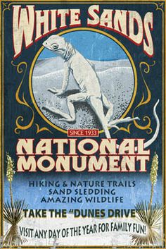 White Sands National Monument, New Mexico - Lizard Vintage Sign - Lantern Press Poster