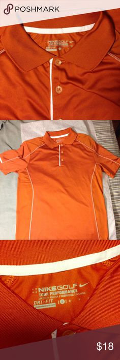 Nike golf poor performance dry fit small polo Small Nike golf pro performance dry fit polo orange and white. Feel free to make an offer!☺️ Nike Shirts Polos