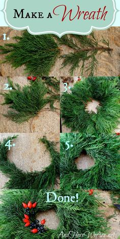 Step-by-step guide to making a wreath from materials you can collect nearby. andhereweare.net/...