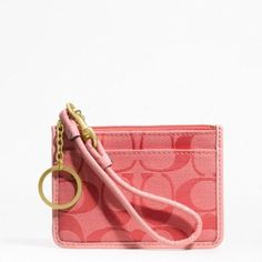 COACH Signature Resort Skinny Mini ID Wallet Split Key Ring 48854 in Coral Coach. $62.00