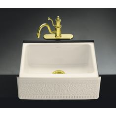 Kohler Interlace 22-In X 25-In Almond Single-Basin-Basin Fireclay Apron Front/Farmhouse 5-Hole Residential Kitchen Sink