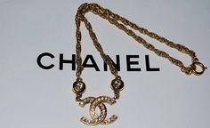 Auth Chanel Vintage 80s Signature CC Crystal Emblem Necklace