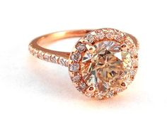 LBV Rose Gold Champagne Diamond Halo Cathedral Engagement Ring with pave diamond band