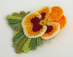 Hand dyed crochet thread realistic pansy viola flower pin