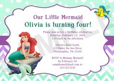 Little Mermaid Birthday Invitation (Digital File) on Etsy, $8.00